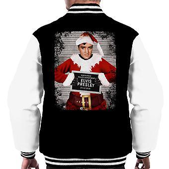 Christmas Mugshot Elvis Presley Men's Varsity Jacket