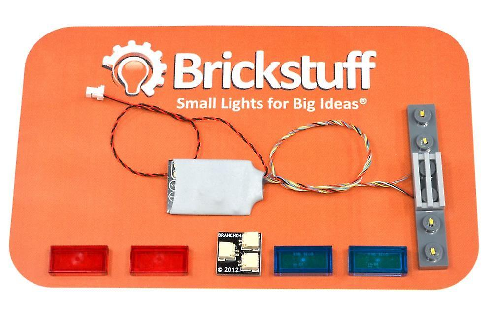 Brickstuff 6-Wide Universal Lightbar with 12 Lighting Patterns (Blue & Red Tiles Included) - QK13