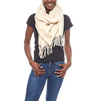 pieces of exclusively soft ladies wool scarf with fringes beige