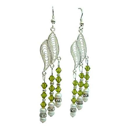 Sterling Silver Chandelier Earrings w/ Swarovski Olivine Crystal