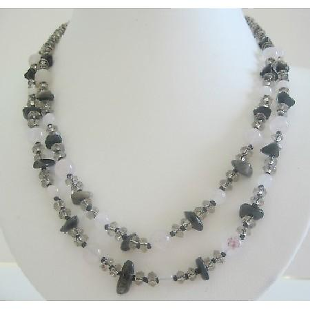 Handmade White Opal Necklace Smokey Quartz Onyx Chips Clasp Necklace