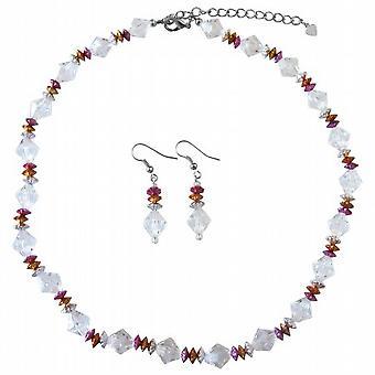 Prom bröllop brud brudtärna Tricolor smycken ange klara kristaller