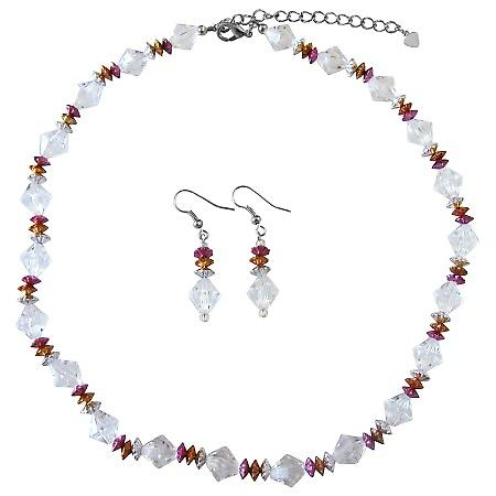 Prom Wedding Bridal Bridesmaid Tricolor Jewelry Set Clear Crystals