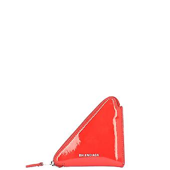 Balenciaga Triangle Coin Red Patent Leather Wallet