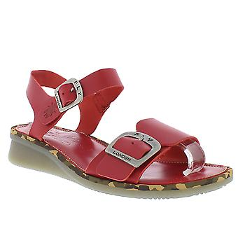 Womens Fly London Comb Brooklyn Leather Buckle Open Toe Cut Out Sandals
