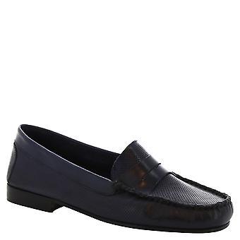 Leonardo Shoes Women's handmade loafers in openwork dark blue calf leather