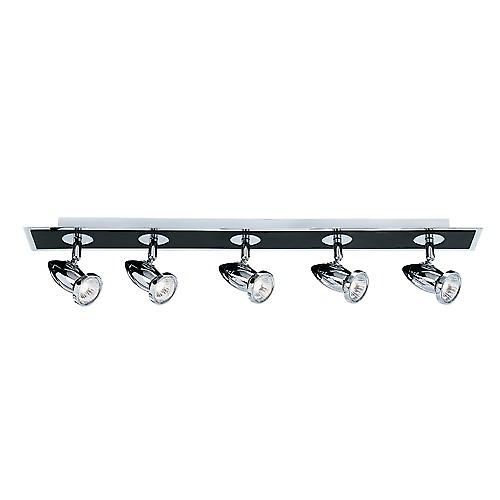 Searchlight 7495 Comet 5 Light Bar GU10 Halogenlights Black And Chrome Finish