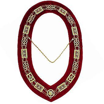 Grand Lodge-collar de cadena-oro/plata en rojo + caja libre