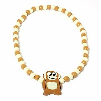 The Olivia Collection Childrens Wooden Beads Elasticated Monkey Necklace