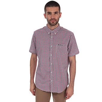 Mens Ben Sherman Ss House Checked Shirt In Red Blue- Short Sleeve- Button Down