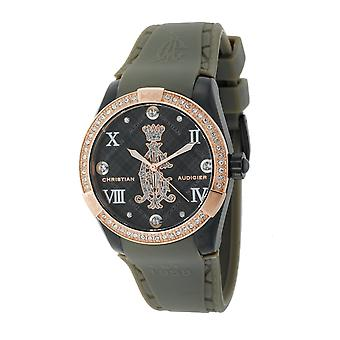Christian Audigier Ladies Black Argyle Smart Rubber Strap 2-Toned Watch INT-313