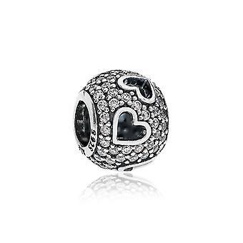 Pandora Tumbling Hearts Silver & Clear CZ Charm 791426CZ