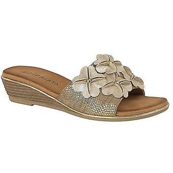 Ladies Womens Sandals Slip On Flower Wedge Heel Mule Shoes