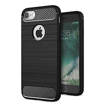 iPhone 7/iPhone 8-shell rubber in Carbon Fiber Design-zwart