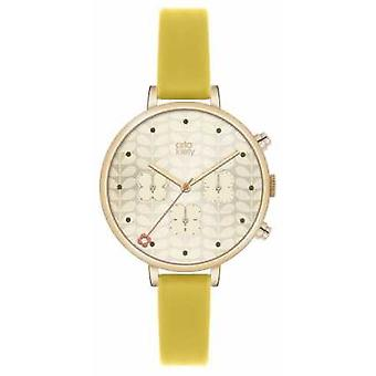 Orla Kiely Ivy Chronograph Yellow Leather Strap OK2038 Watch