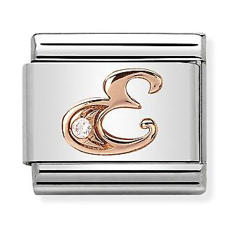 Nomination Classic Letter E Steel, CZ and 9k Rose Gold Link Charm 430310/05