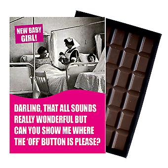 Funny New Baby Girl Birth Gift For Newborn Mum Boxed Chocolate Greeting Card Present CDL146
