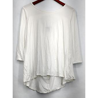 Kate & Mallory Top 3/4 Sleeve Top Scoop Neck & Criss Cross Back White A428883