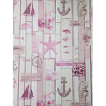 Nautical Wood Effect Wallpaper Pink Off White Starfish Boats Planks Textured P+S