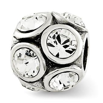 925 Sterling Silver Polished Antique finish Reflections April Crystal Bead Charm