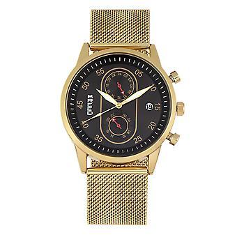 Breed Andreas Mesh-Bracelet Watch w/ Date - Gold/Black