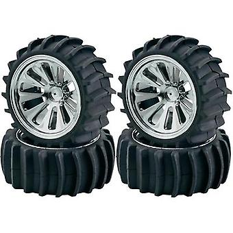 Carson 1:10 Buggy complete wheel with 10-spoke-RimChromeandBeach paddletyre profile (105201)