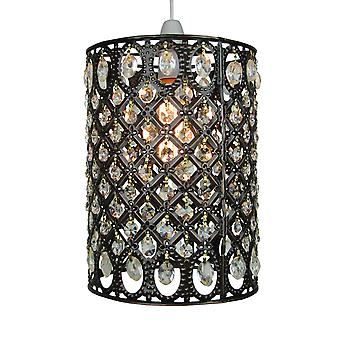 Moroccan Pendant Shade - Multi Clear Jewels & Antique Brass