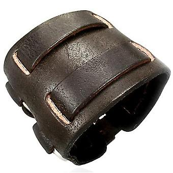 Urbain mâles en cuir large marron Double sangle Design Cuff Bracelet