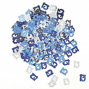 Decoración de la mesa del 13 cumpleaños confeti - confeti azul y plata 14g