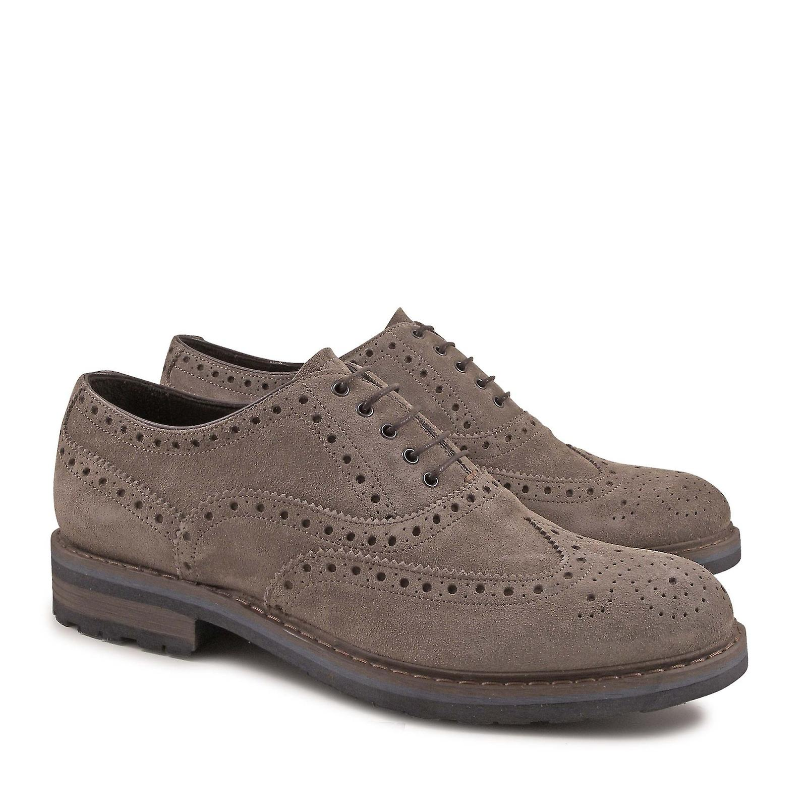 Handmade in brogue shoes for men in Handmade taupe suede leather 8536ab
