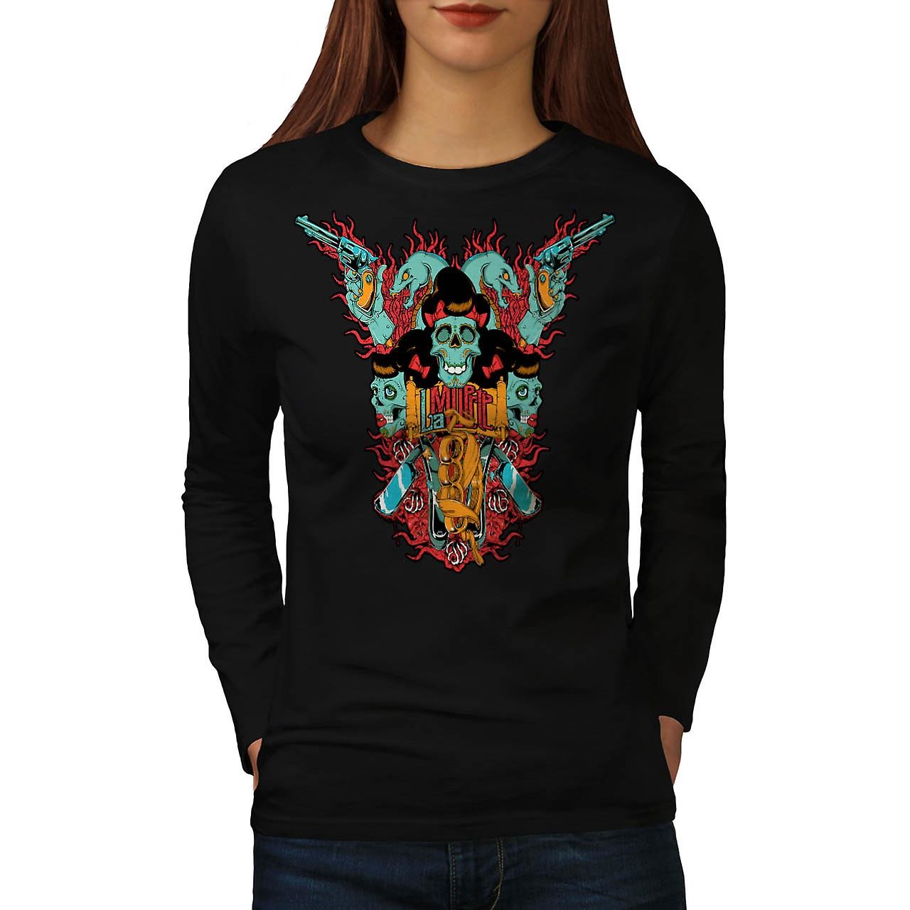 La Muerte Gun Dead Skull Women Black Long Sleeve T-shirt | Wellcoda