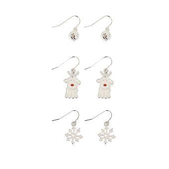 3 PACK Silver & Multi Christmas Themed Dangle Earrings
