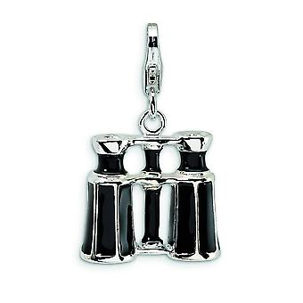 Sterling Silver Enamel Crystal Binocular With Lobster Clasp Charm - Measures 27x16mm