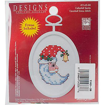 Celestial Santa Mini Counted Cross Stitch Kit-2.75