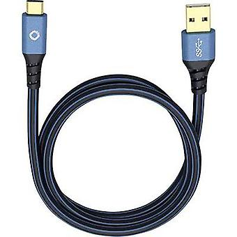USB 3.1 Cable [1x USB 3.0 connector A - 1x USB-C plug] 1.50 m Blue gold plated connectors Oehlbach