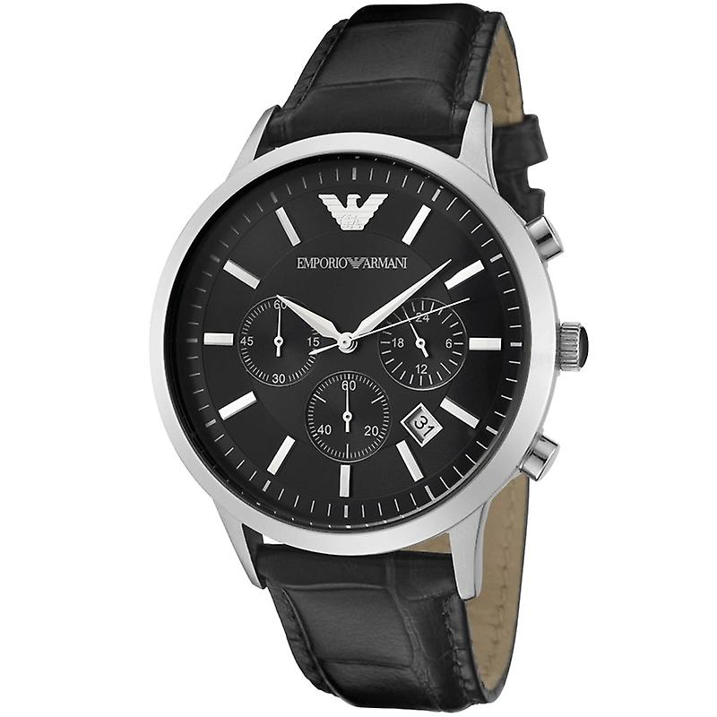 Emporio Armani AR2447 Stainless Steel Black Dial Black Leather Strap Watch