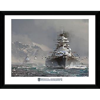 Verden af krigsskibe Bismark indrammet Collector Print