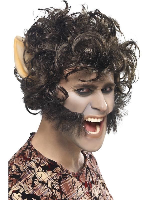 Varulv wig med skjegg u ører varulv parykk Monster Halloween