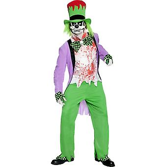 Costume of Evil Mad Hatter with top pants Hat shirt mask overshoes and HA size S