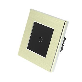 I LumoS Gold Brushed Aluminium 1 Gang 1 Way Remote Touch LED Light Switch Black Insert