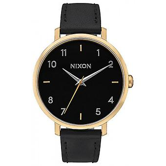 Nixon The Arrow Leather Watch - Black/Gold