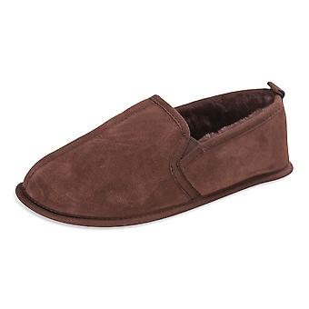 Nordvek Mens Full Back Genuine Sheepskin Slippers Soft Sole 407-100