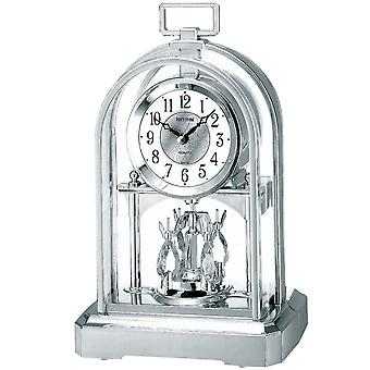 Table clock quartz clock with rotating pendulum rhythm housing silver 23 x 16 cm
