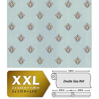 Baroque wallpaper EDEM 9043-29 non-woven wallpaper imprinted with ornaments shiny turquoise creamy white silver Brown 10.65 m2