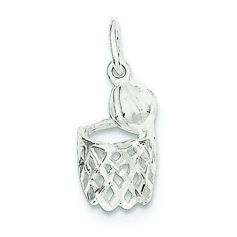 Sterling Silver Satin Sparkle-Cut Basketball Hoop charme - 1,7 grammes