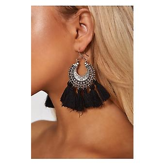 The Fashion Bible Black Tassel Earrings