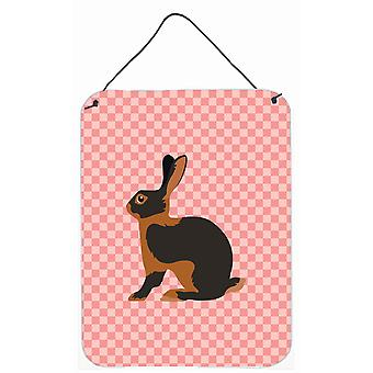 Tan Rabbit Pink Check Wall or Door Hanging Prints