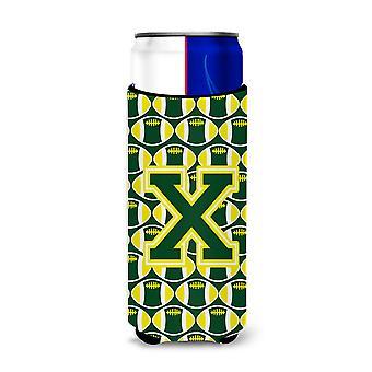 Carta X del balompié verde y amarillo Ultra aisladores de bebida para latas de slim