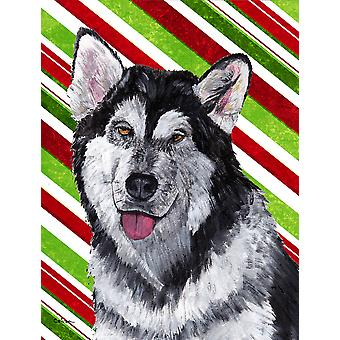 Alaskan Malamute Candy Cane Holiday Christmas Flag Canvas House Size