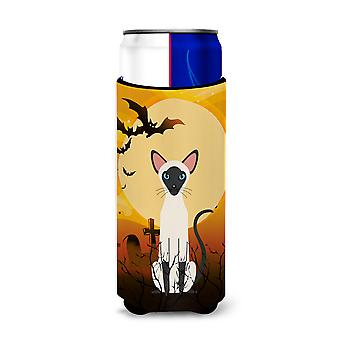 Halloween Siamese Cat Michelob Ultra Hugger for slim cans